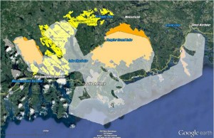 1972 proposed national park boundaries are in white. Yellow block indicates the 2009 Ship Harbour/Long Lake Protected area.
