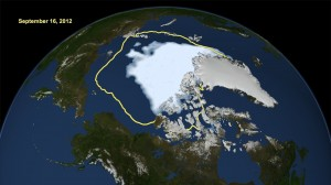 Minimum sea ice in the Arctic Ocean, September 16, 2012. Yellow outline shows average sea ice minimum, 1979-2010. Courtesy NASA/Goddard Space Flight Center