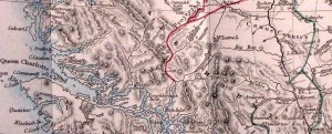 "Two ""Indian Trails"" were recorded on this 1868 map. One track crossed between the Homathko and Klinaklini valleys, while the other connected the Southgate drainage to the Bridge River country near Bralorne."