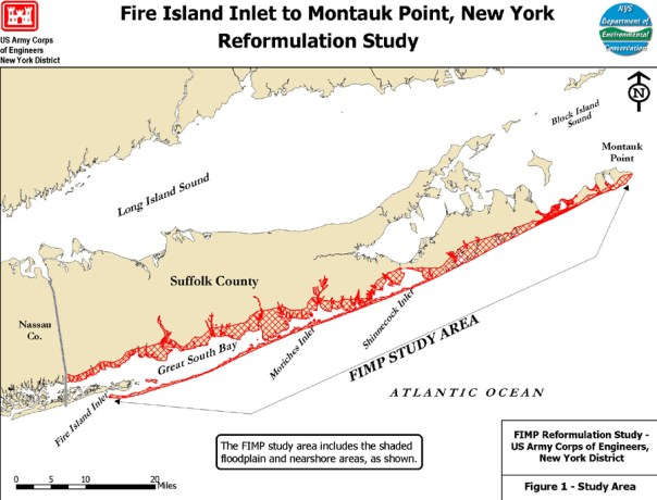 "U.S. Army Corps of Engineers, New York District. ""Fire Island Inlet to Montauk Point, New York Reformulation Study."" Undated map (2012?)."