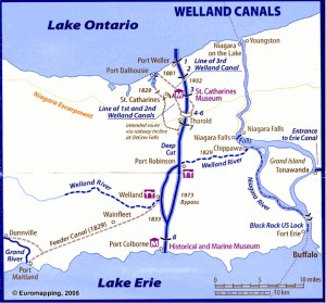 """Location of the Welland canals. Map drawn by David Edwards-May, Euromapping, France. In Pauline Desjardins, """"Navigation and Waterpower: Adaptation and Technology on Canadian Canals,"""" IA, The Journal of the Society for Industrial Archeology 29.1 (2003): 69 pars. Used with permission."""