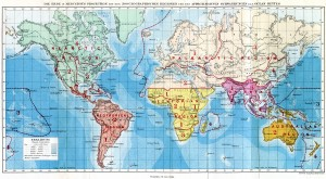 World map from The Geographical Distribution of Animals showing Wallace's six biogeographical regions. Source: Wikipedia