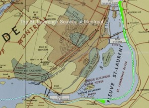 Montreal Harbour - Seaway shown in green