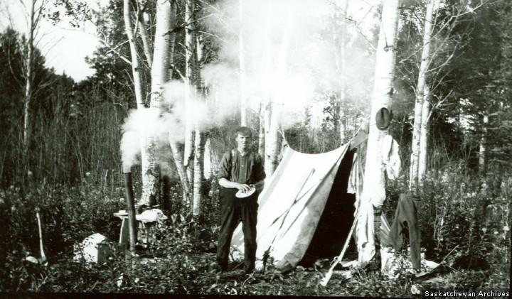 Camping in forest near Prince Albert, no date (c. 1920).Saskatchewan Archives Board photo R-A1777.