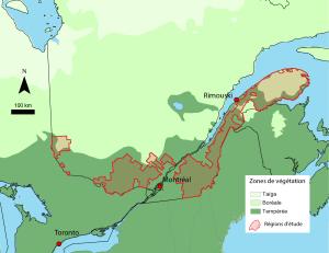 Figure 1. Régions couvertes par les archives d'arpentage et zones de végétation