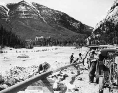 Laying pipeline in Banff, 1951