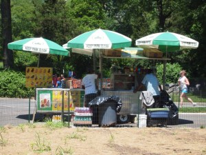Hot dog stands in Central Park, New York
