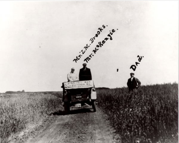 "Claiming space for automobility and the McLaughlin Buick in western Canada. ""First Auto Trip Across the Prairies,"" The Thomas Bouckley Collection, Robert McLaughlin Gallery, 719 0671, 1911."