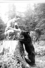Mr. Mann feeding a bear in a Conscientious Objector Camp in  British Columbia, 1940s.  Credit: Mennonite Heritage Centre,  Winnipeg. CA MHC 088-265.0