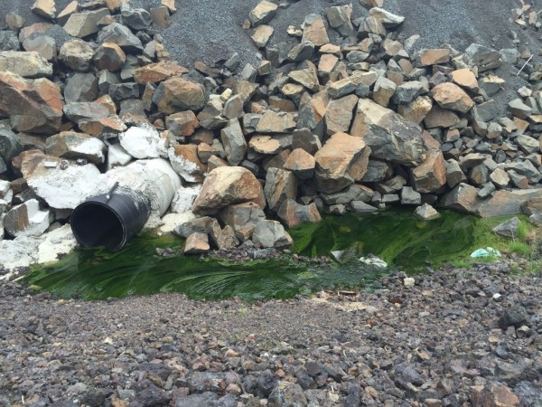 Green water seeping down from the slag pile and entering the culvert that runs under Big Nickel Mine Drive, May 27, 2015. Author's photo.