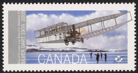 "Centennial ""First Flight"" stamp by Canada Post, 2009. Source: Canada Post."