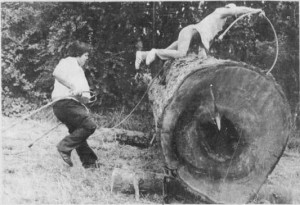 Stó:lō loggers compete at a logging sports competition at Coqualeetza, August 1977. Photo credit: The Chilliwack Progress, 31 August 1977, 13.
