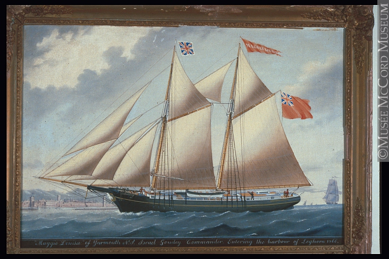 "Anonymous, ""Maggie Louisa"" of Yarmouth, Israel Goudey, Commander, Entering the harbour of Leghorn (1866), McCord Museum, Montreal."