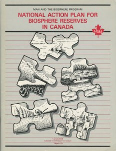 The full text of this report is available in the Canadian Biosphere Reserve Associaion Fonds at the Laurier Archives. It was prepared by Richard Bill of Envrionment Canada in 1987 with major contributions from Fred Roots and George Francis. The personal papers of Roots and Francis are available at the Laurier Archives. (permission pending) Canada/MAB A National Action Plan for Biopshere Reserves. December 1987. 22.6 Canadian Biosphere Reserves Association Fonds, The Envrionmental Movement in Canada Collection, Laurier Archives, Wilfrid Laurier University, Waterloo, Ontario, Canada, June 2016.