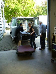 Jacky Lai, Krisztina Laszlo and Stan Chester unloading the van at UBC (Photo by David B).