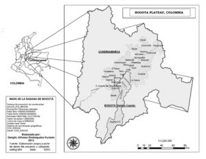 Figure 1. Bogota Plateau. Source: the author and geographer Simbaqueba in Fronteras de la Historia, vol.20(1), p.16.