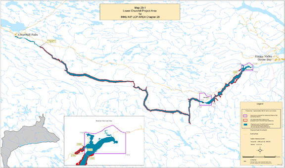 Labrador Innu land claims around Lower Churchill River
