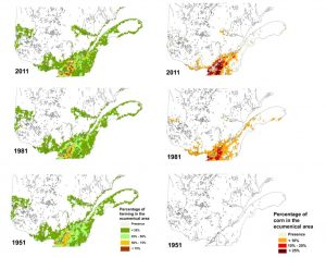 Figure 3. Changes in concentration of farmland and land devoted to corn production in Quebec, 1951-2011.
