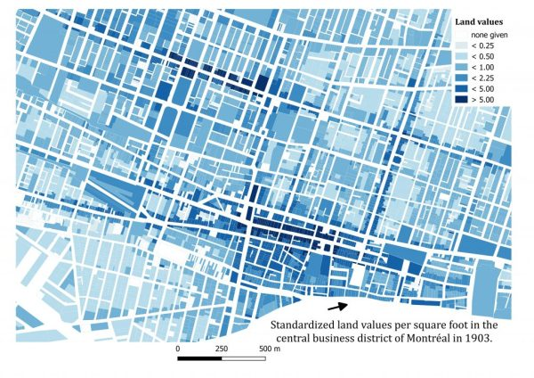 Land values per square foot, Montréal, 1903. Map Credit: Robert C.H. Sweeny and the MAP team.