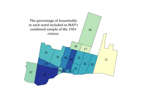 Percentage of Households in the MAP 1901 sample. Map Credit: Robert C.H. Sweeny and the MAP team.