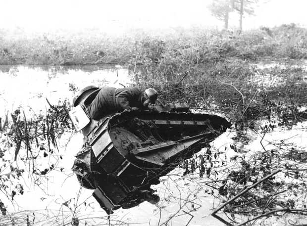 Image of a Dutch tanked submerged while testing the waterline on 1 January 1939, months before World War II began. Source: ANP Foundation.