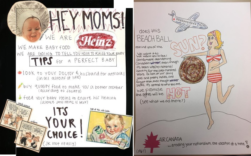 """One discussion group's """"honest advertisement,"""" for Heinz baby foods, c. 1940s, and my example: Air Canada, 1950s."""