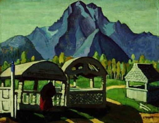 Indian Grave House by Edwin Headley Holgate. Painting of indian grave houses with mountains and trees in the background.