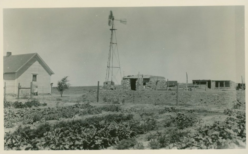 A small 1930s farm house with a garden in the foreground and a small windmill in the background.