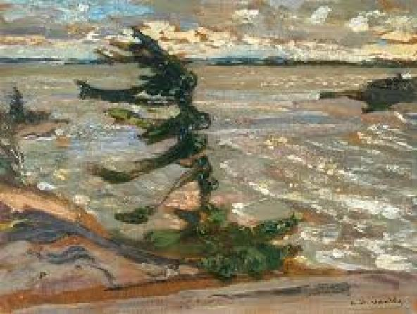F.H. Varley, Squally Weather, Georgion Bay. Oil painting of tree bending against wind with lake in background.