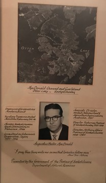 Picture presented to A.H. MacDonald by the Departmental of Natural Resources in recognition of naming Gus Island and MacDonald Channel on Otter Lake.