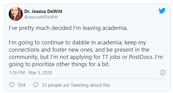 "A screenshot of Jessica DeWitt's tweet announcing she was leaving academia. ""I've pretty much decided I'm leaving academia. I'm going to continue to dabble in academia, keep my connections and foster new ones, and be present in the community, but I'm not applying for TT jobs or PostDocs. I'm going to prioritize other things for a bit."""