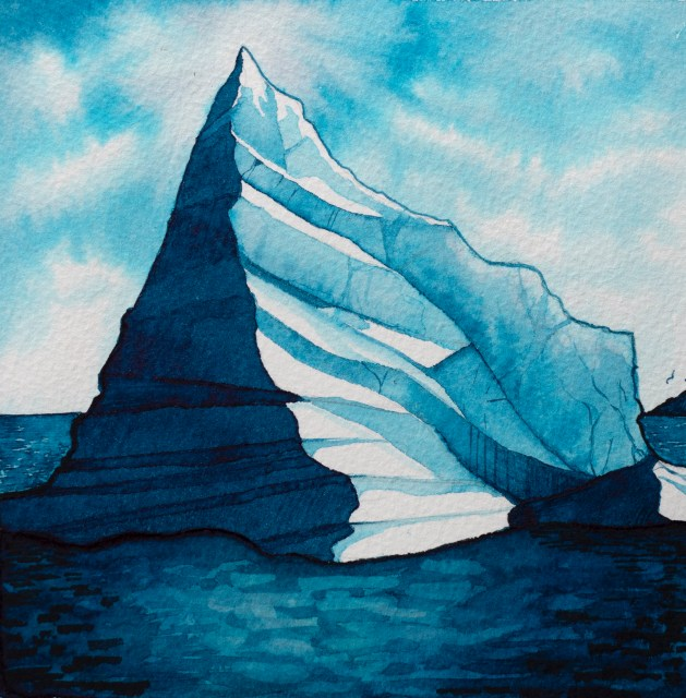 Illustration of an iceberg at sea, in shades of blue