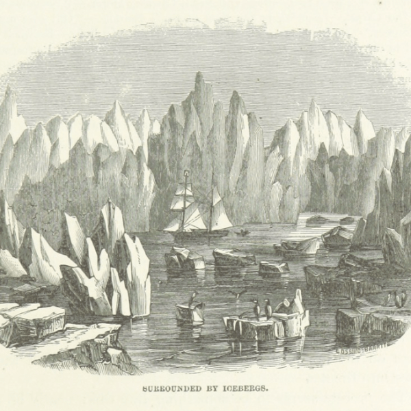 Historic print of a sailing ship surrounded by icebergs