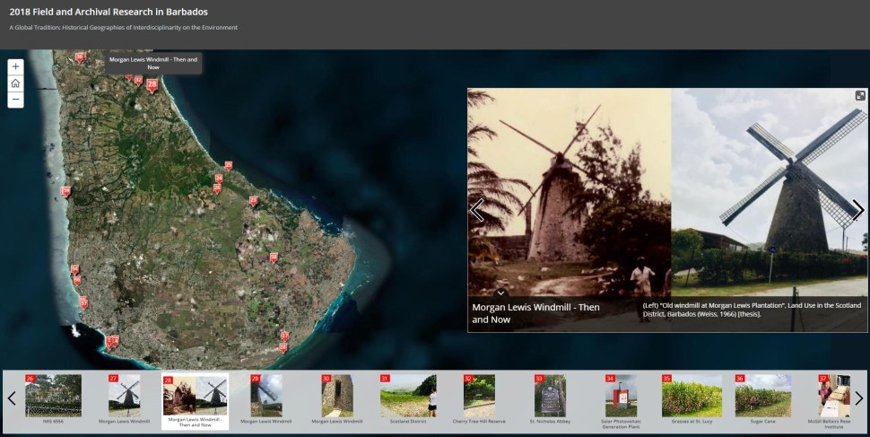 Screenshot of a GIS interface with terrain map of Barbados (left) featuring pinpoints with photographs (below). Right: comparison of archival and contemporary photographs of a windmill.