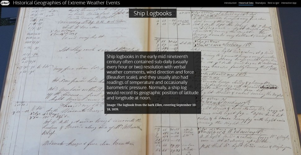 A picture of an archived ship logbook.