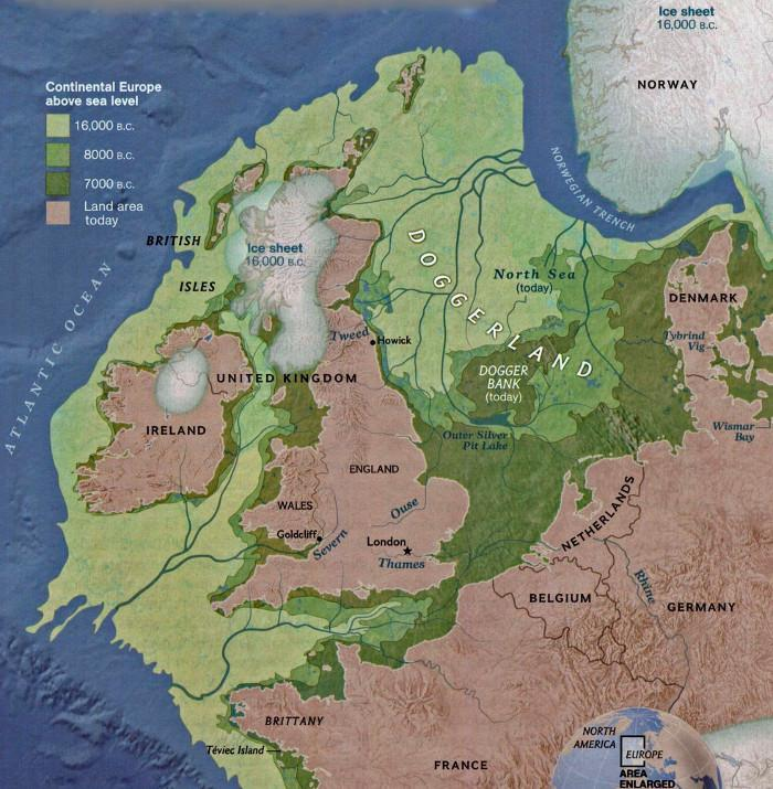 Map of northwestern Europe, Great Britain, Ireland and surrounding islands, showing changes in sea level through time. Around 16,000 BC the land that now makes up the British Isles had no coastline at all, as land extended west and north; land ended just north of Shetland and west of Ireland; the only somewhat recognisable coast is Norway, as a deeper Norwegian Trench was already sea. By 8,000 BC Ireland and Great Britain have almost separated from each other, bar a narrow land bridge connecting northern Ireland to western Scotland; the Isle of Man is still connected to Great Britain, as are many  of the Scottish islands; Great Britain itself is still part of the European landmass, joined to it from northern France to the tip of Denmark. By 7,000 BC all these connections have considerably narrowed: the land bridge to Ireland has become much smaller; the sea now separates much of England's southern coast from France, though they do still connect at the eastern end of what is now the English Channel; the northeastern coast of Great Britain has taken on something like its current form, but to the south doggerland still connects England to everywhere between northeastern France and the tip of Denmark; Dogger Bank is now an island, caught by the advance of the sea.