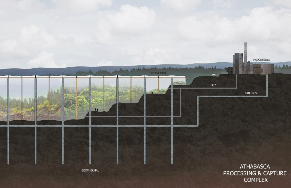 Practical solution: cross-section of an oil processing and carbon capture complex, in which pipelines connect a huge greenhouse to the processing centre.