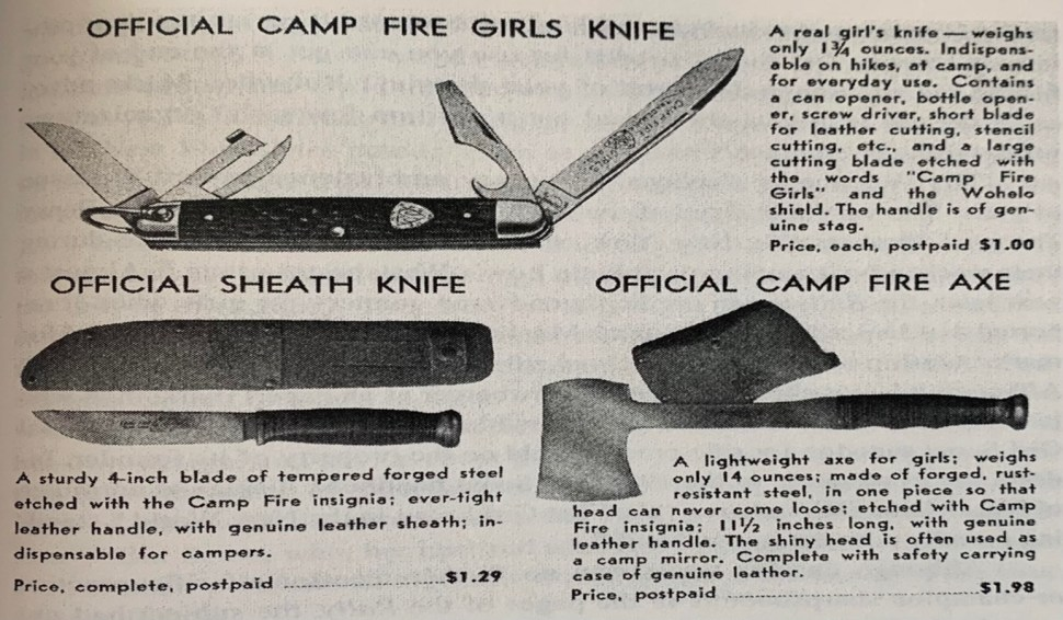 """an ad for woodcraft tools, as originally placed in the 1939 Camp Fire Outfitters catalog. The listing describes """"A lightweight axe for girls,"""" forged """"in one piece so that head can never come loose."""" The ad also notes that """"the shiny head is often used as a camp mirror,"""" and the axe comes complete with a genuine leather carrying case."""