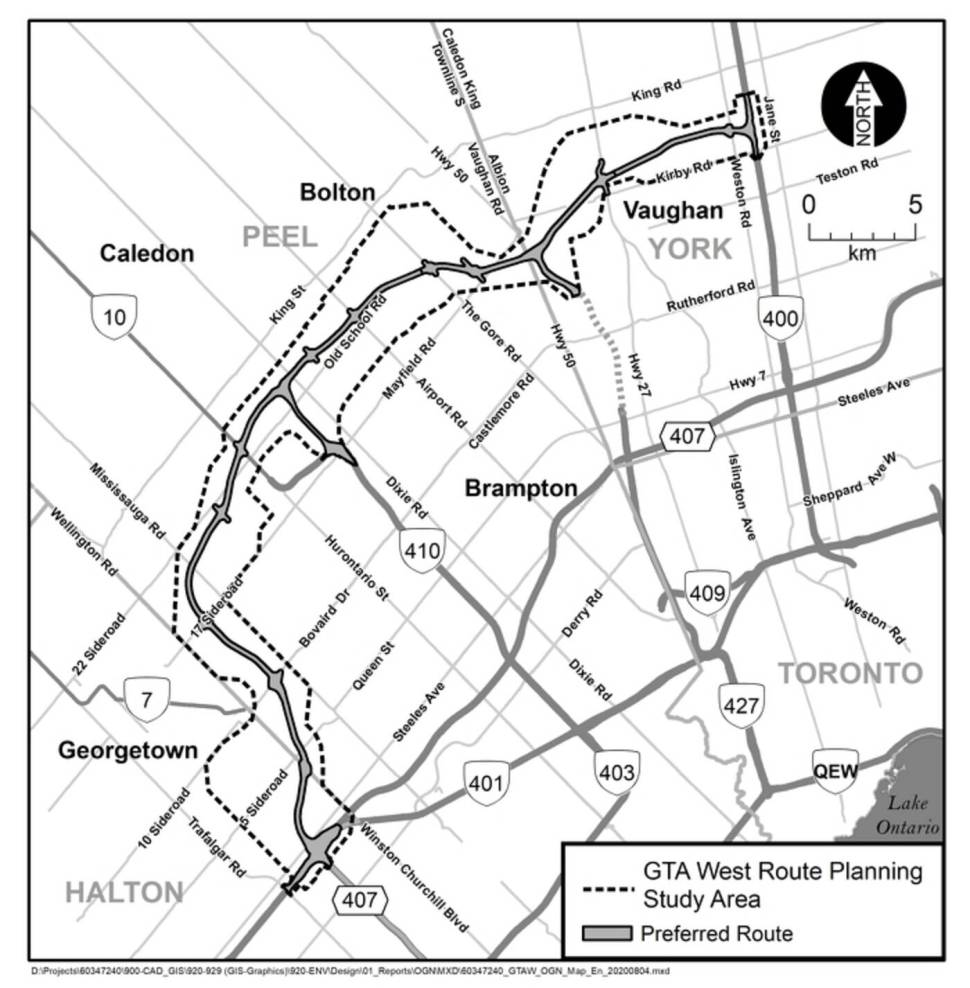Map of proposed Highway 413 in Ontario.