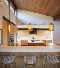 Kitchen Island Pendant Lighting Emits Golden Glow in Sun ...