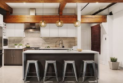 Kitchen Island Pendant Lighting In An Urban Inspired Penthouse