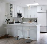 2 White Kitchens with Contemporary Crystal Pendant Lighting