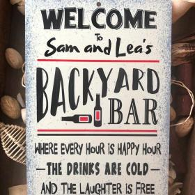 Personalized Welcome To Our Backyard Bar Metal Sign - Home Decor - Outdoor Decor - Bar Sign - Welcome Sign - Personalized Sign Metal Sign V99- Metal Sign(8886)