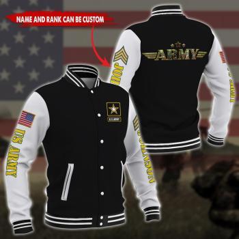 US Army Gift For Military Veteran Design 3D Design Custom Baseball Jacket All Over Printed