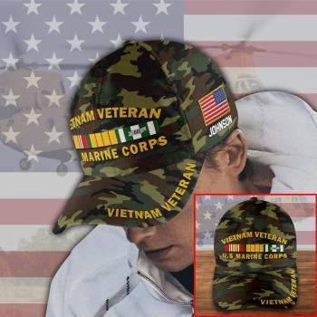 Vietnam Veteran Hat, Camo Hat, Vietnam Vet Hat, Vietnam Veteran Cap US Marine Corps Custom Name