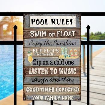 Pool Rules Metal Sign, Pool Sign, Beach decor, Home Decor, Custom Your Metal Sign