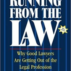 Yellow and dark blue book cover with white copy titled Running From The Law