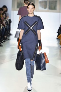 Fall 2014 Much as he does with his namesake brand, Wang turned the mundane into luxury, like these shopping bags made of crocodile and fur.