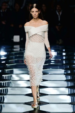 Spring 2015 Wang also paid close attention to embellishments and worked to create couturelike finishes.