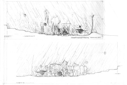 'escape from grinotts' lava chasm sketch elevations
